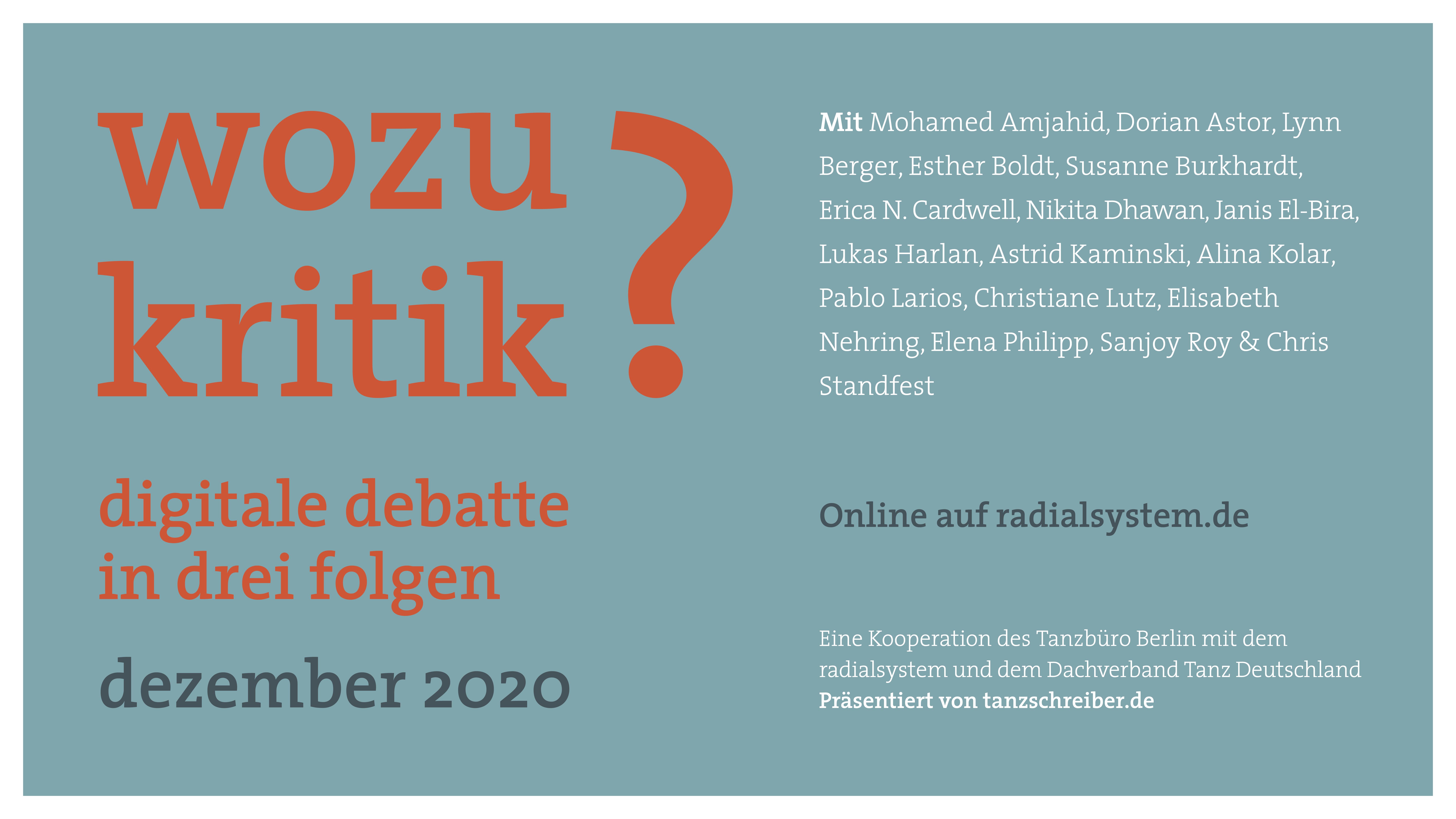 """""""Wozu Kritik?"""" – Digitale Debatte in drei Folgen im Dezember 2020"""